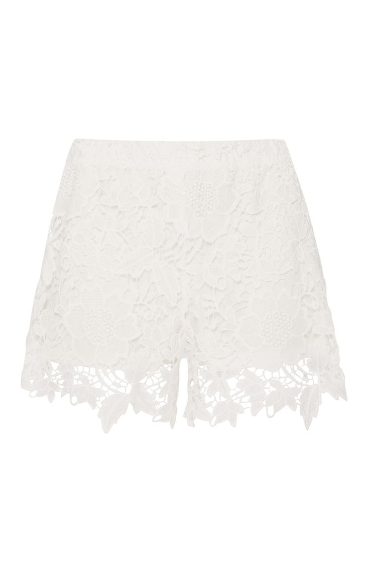 Witte opengewerkte korte broek