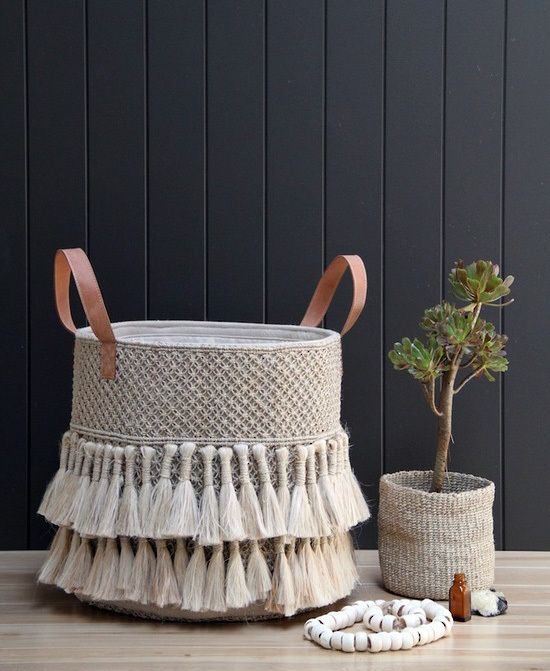 Jute Macrame Tassel Basket with Leather Handles NEW! IN STOCK - Table Tonic