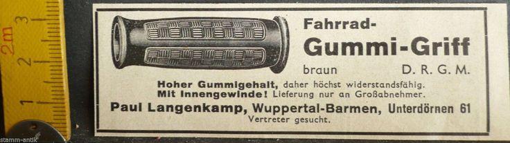 kleine orig.Anzeige 1938,Fahrrad Gummigriff,Paul Langenkamp,Wuppertal Barmen | eBay