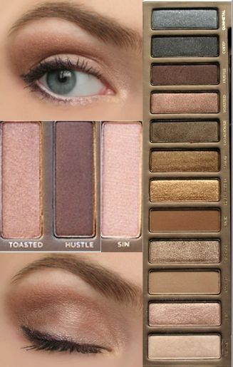 "Urban Decay Naked Palette (use ""Buck"" to fill in eyebrows and black to tightline)."
