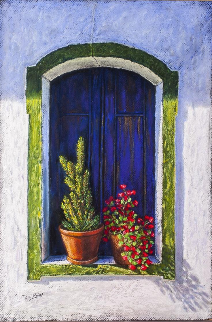 Pilar S. Robles. Ventana de Portugal. Pastel. 48x32. s/marco