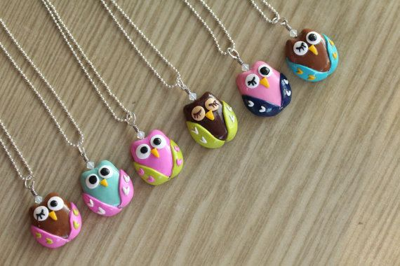 Polymer Clay Owl Pendant Necklace...I could make these!