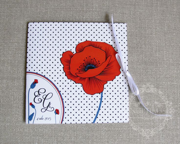 Poppy Wedding Invitation -  Lovely poppy invite for a special and elegant floral styled wedding.------- Invitatie nunta cu maci - O plimbare într-un camp de maci, cu accente de rosu viu, si fundal cu buline jucause.