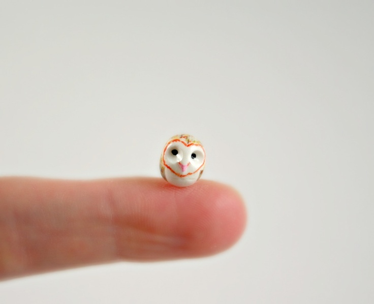 Micro Barn Owl Hand Sculpted Miniature by MadeWithClayAndLove I <3 TINY STUFF!!!!
