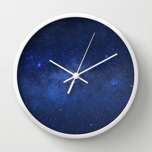 space wall clock milky way galaxy  stars  night sky  geek decor  outer space  blue wall decor