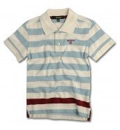 Block Stripe Polo Shirt In White
