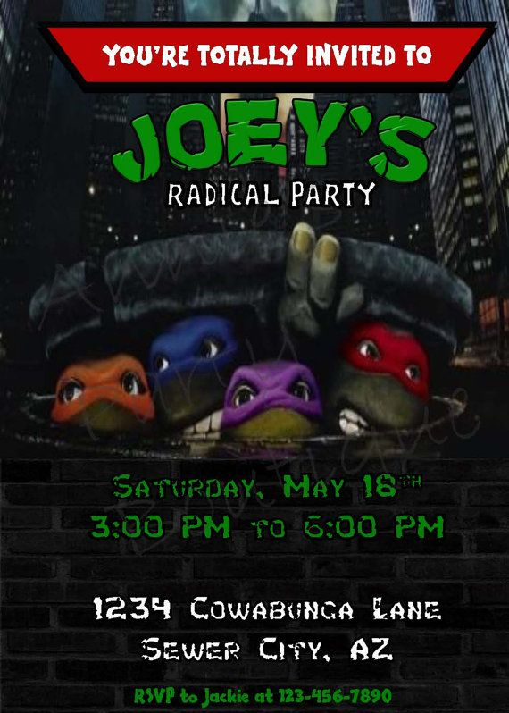 Teenage Mutant Ninja Turtles Birthday Invitation @Lena Åberg Morales  for sure this is what I want for Javens party!!