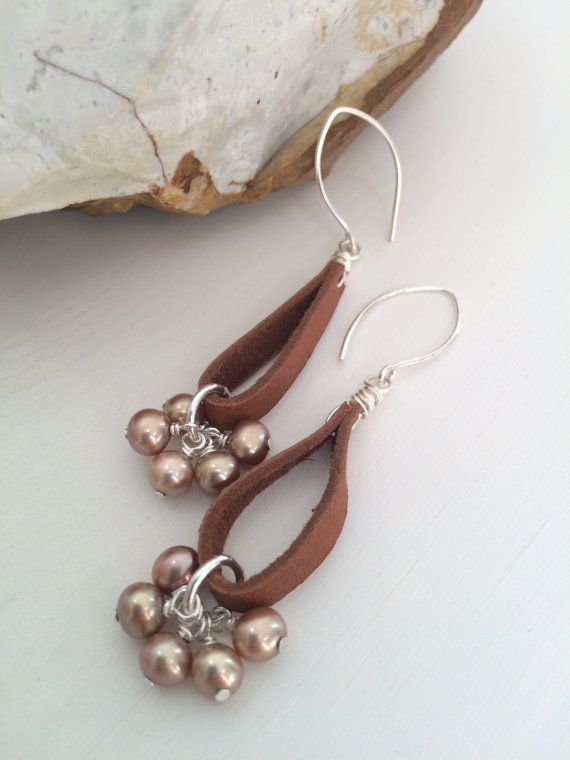 Bohemian Leather Earrings Pearl and Leather by ClassyChicDesigns4u