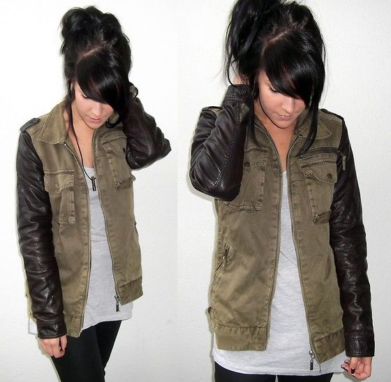 doing this...DIY Parka with leather sleeves (by Jenny W) http://lookbook.nu/look/4063616-DIY-Parka-with-leather-sleeves