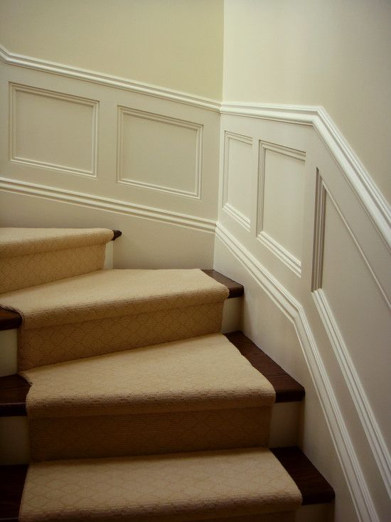 Wainscoting, beige carpet, redo and stain stairs