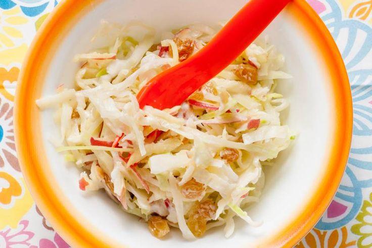 Kijk wat een lekker recept ik heb gevonden op Allerhande! Opperdepop: witte kool met appel en rozijnen 1-2 jr