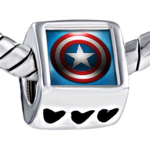 Pugster Shield Steve Used In Movie Captain America Photo Bead Heart Beads Fits Pandora Charm Bracelet Pugster. $12.49. Metal: Metal. Size (mm): 7.37*9.14*10.13. Color: Red, white, blue. Weight (gram): 4.3