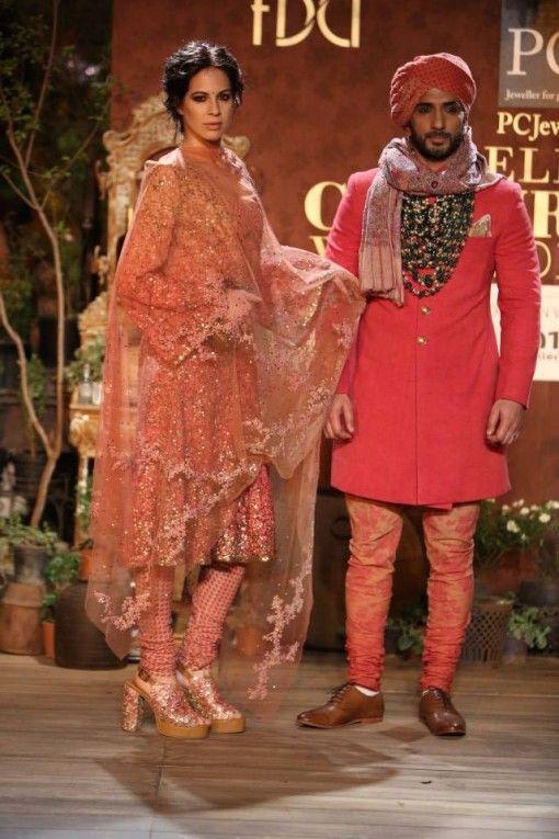Delhi Couture Week 2013 Photos – Sabyasachi bright pink short salwar kameez