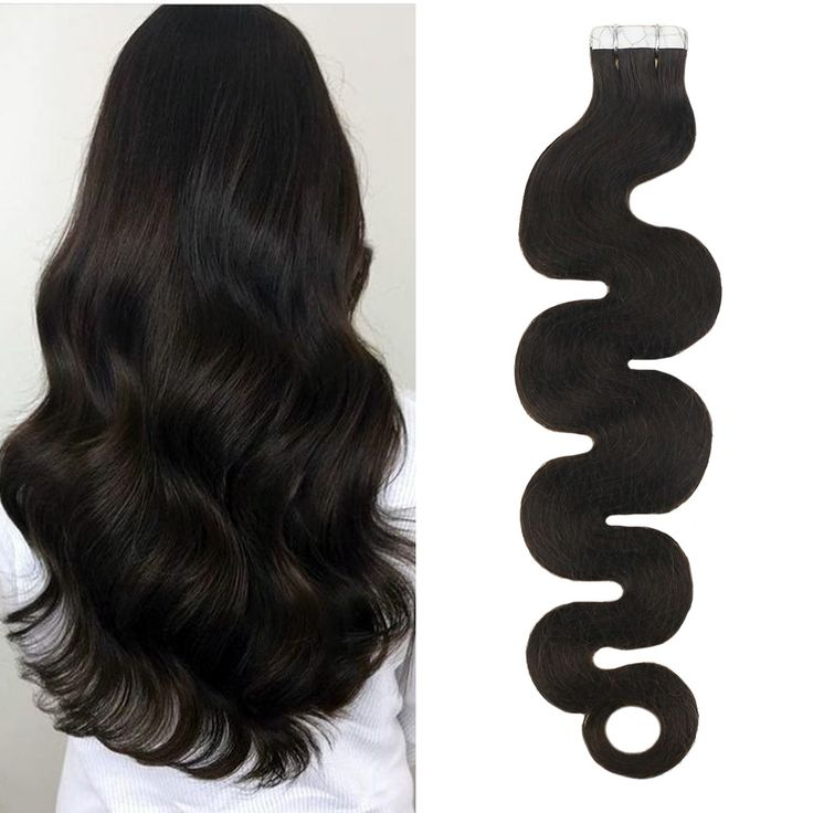 50g Skin Weft Body Wave Tape in Extensions Adhesive Pure Color Darkest Brown #2(BW #2