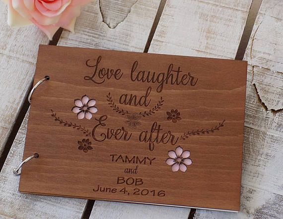 Love Laughter and Ever After Wood Wedding Guest Book Custom