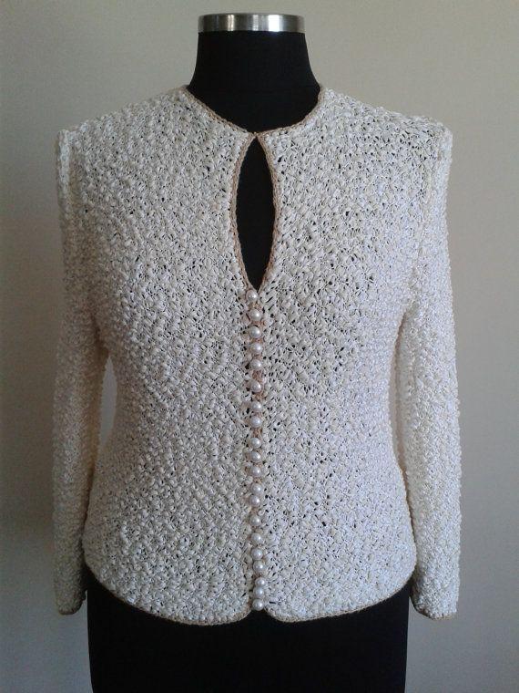 Women's Clothing  Women Cardigan  Ivory Cardigan  Hand knnited Cardigan  Channel Style Jacket Plus size cardigan