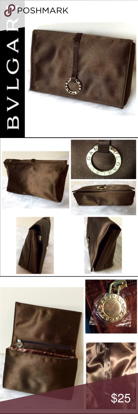 "NWOT Bvlgari Designer Cosmetic Bag Bvlgari Designer Cosmetic Bag in Elegant Brown Nylon with Magnetic Flap Closure, 1 Zip Pocket on Interior of Flap, Approx. Size is 7 1/2"" x 5"" x 1 3/4"", Perfect Traveling Size and can Fit easily into your Satchel Bag, NWOT Bulgari Bags Cosmetic Bags & Cases"