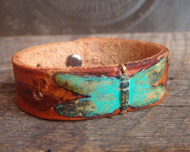 Vintage Brass Dragon Fly on Leather Cuff Bracelet