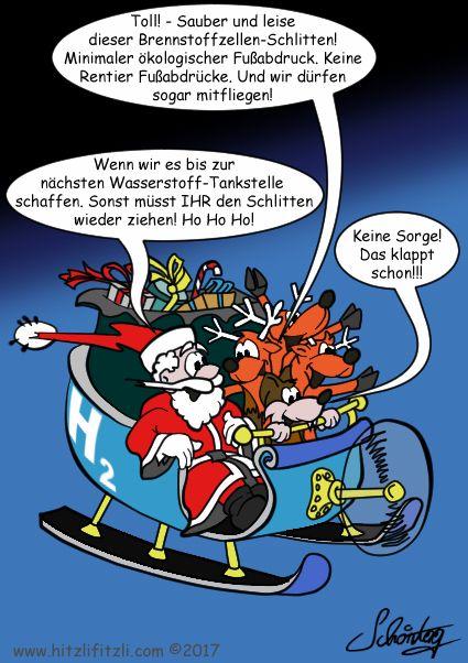 """H2 Winter Experiment  Weitere Cartoons →Der Weihnachtsmann, Hitzlifitzli der schlaue Fuchs und die Rentiere fliegen voller Freude zusammen im Propeller-Schlitten durch die Nacht. Eines der Rentiere sagt zum Weihnachtsmann: """"Toll! - Sauber und leise dieser Brennstoffzellen-Schlitten! Minimaler ökologischer Fußabdruck. Keine Rentier-Fussabdrücke."""