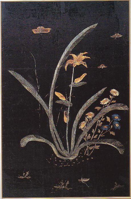 (Korea) Embroidery folder screen by Shin Saimdang. Donga University Museum. Treasures No.595.