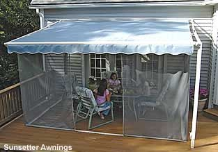 Screen porch kit from porch Sunsetter awnings - something like this would be fun on the front balcony