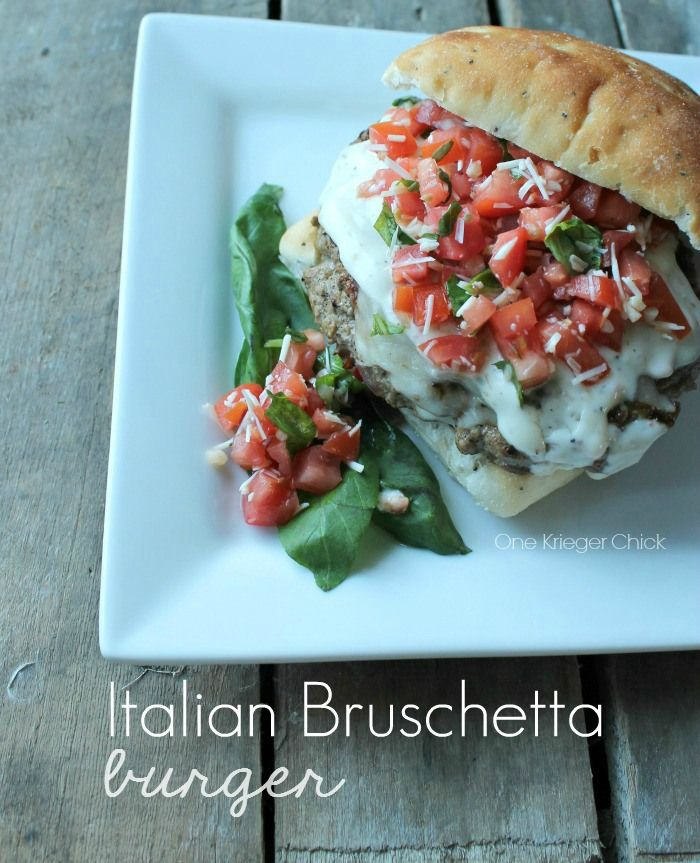 Cheesy Italian Burger with homemade Bruschetta Topping #shop #SayCheeseburger