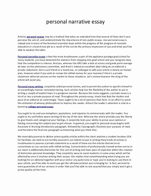 College Personal Essay Format Beautiful Example Of Narrative About Family Examples