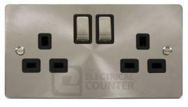 Brushed Steel Flat Plate 2G 13A DP Ingot Switched Socket, Black Insert
