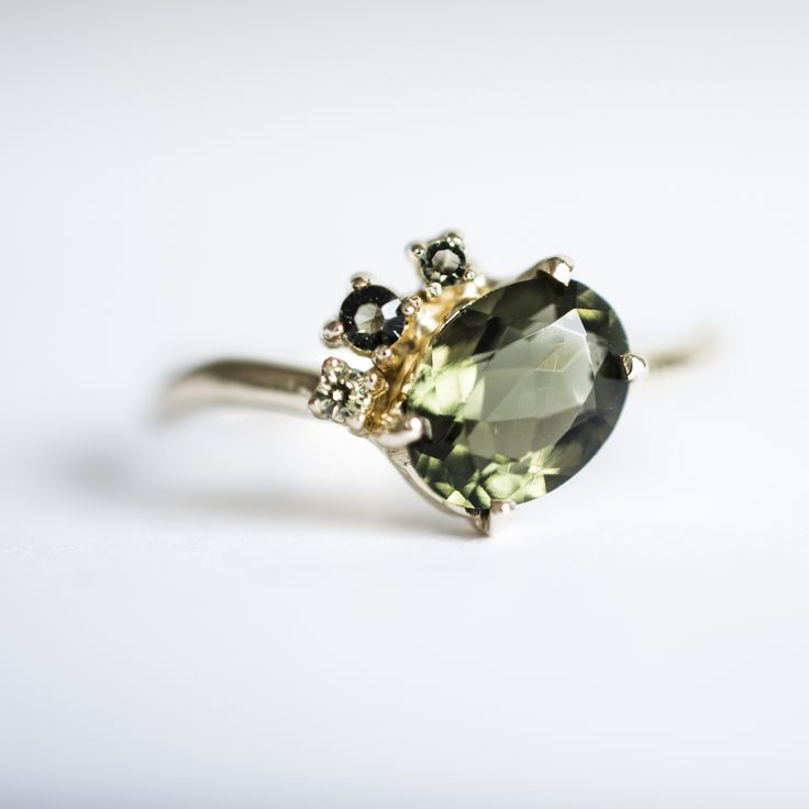 Moldavite cluster ring in yellow gold - made to order - bespoke engagement ring by 27JEWELRY