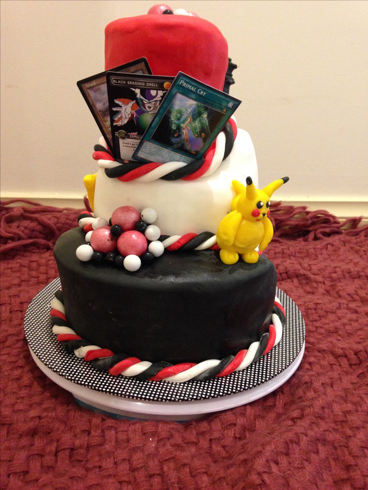 Top Deck Games store opening cake June 2017 Topsy turvy, red black white theme