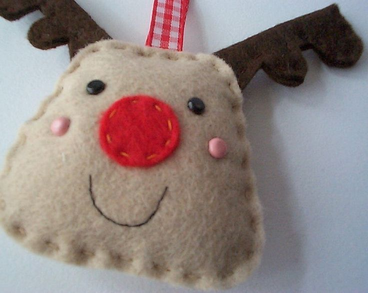 BULK BUY 12 handmade REINDEER felt christmas decorations WHOLESALE. $57.00, via Etsy.