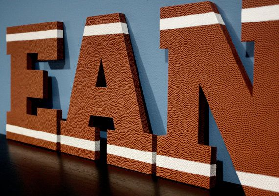 FOOTBALL Children's Custom Wall Letters by Something2BeSaid, $13.00  Need this for Cayden's room