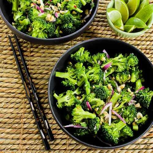 Easy Thai-Flavored Raw Broccoli Salad with Red Onion, Mint, and Peanuts - sub vegan fish sauce from Miyokos Vegan Pantry