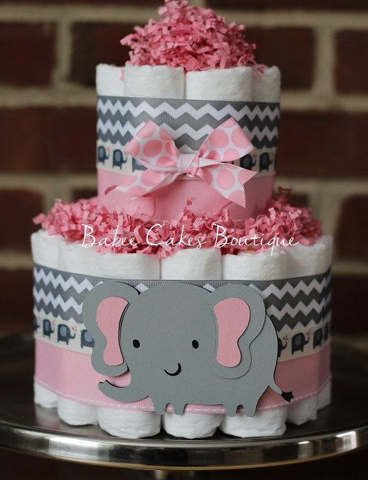 small 2 tier pink and gray elephant diaper cake pink grey elephant baby shower girl baby shower centerpiece shower decor jungle
