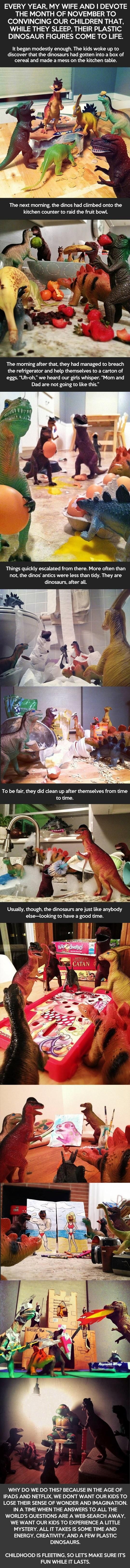 In trying to encourage wonder, amazement and mystery in their kids during this age of internet and iPads, these parents convinced their kids that Dinosaurs had wreaked havoc on their house. (Look out Easter Bunny, Toothfairy and Santa Claus!) My favorite is where they have a ninja turtle held captive.