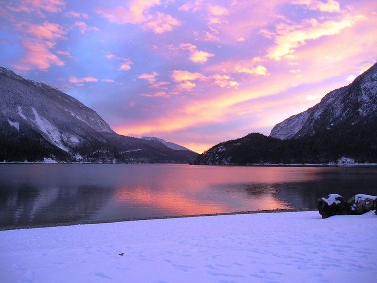 Wonderful photo of the sunset in Molveno (Trentino, Italy)