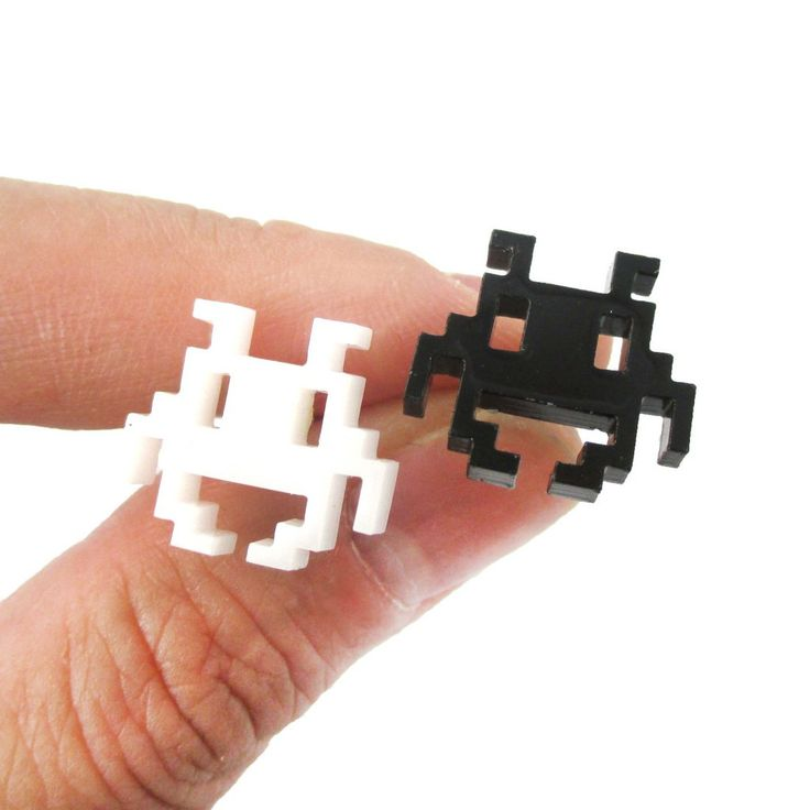 Atari Space Invaders Pixel Alien Shaped Laser Cut Stud Earrings in B/W