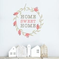 A shabby chic style decoration for your walls! Vintage wallsticker inspired by France with a floral garland. Home sweet home