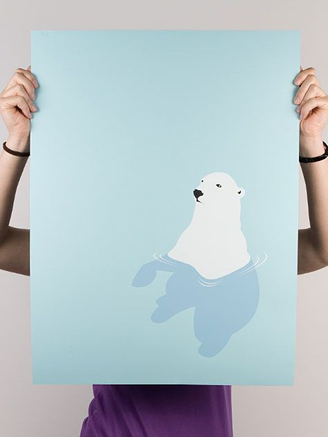 polar bear in water print: Depressing