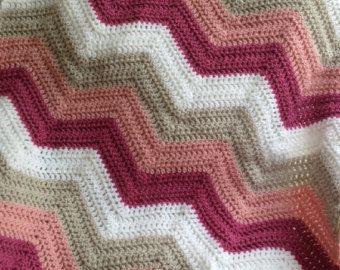 new chevron zig zag ripple baby blanket afghan wrap crochet knit wheelchair stripes VANNA WHITE yarn rose pink linen white handmade in USA
