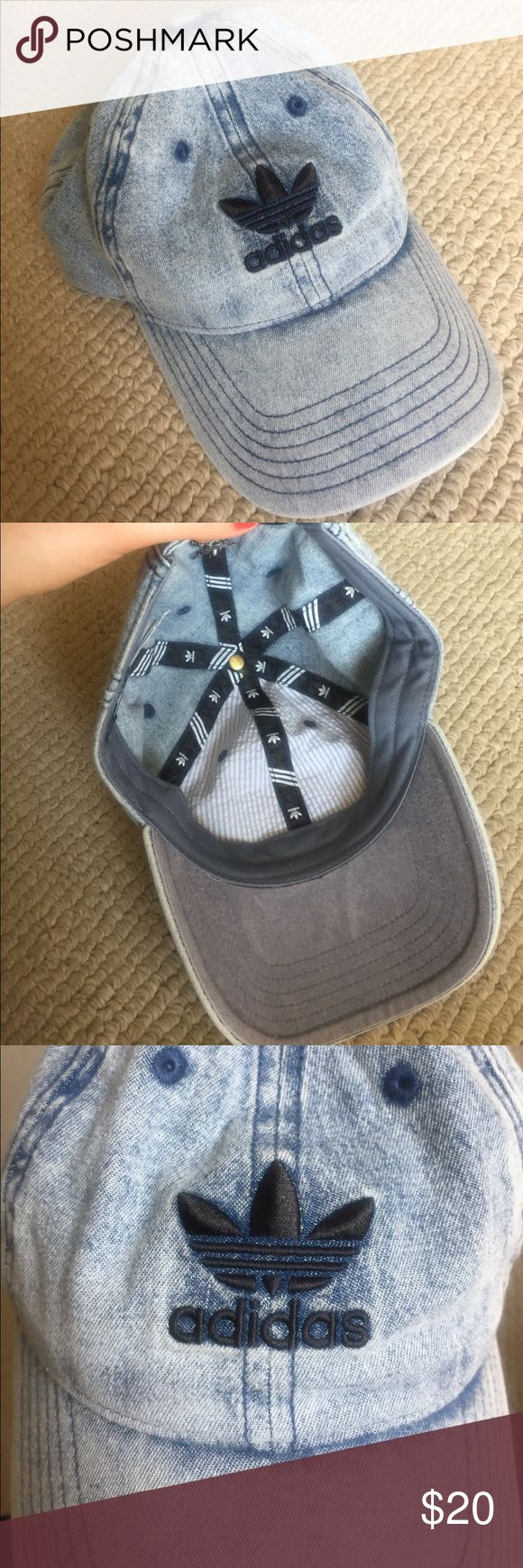 Adidas hat Never worn adidas baseball hat, acid wash/light blue adidas Accessories Hats