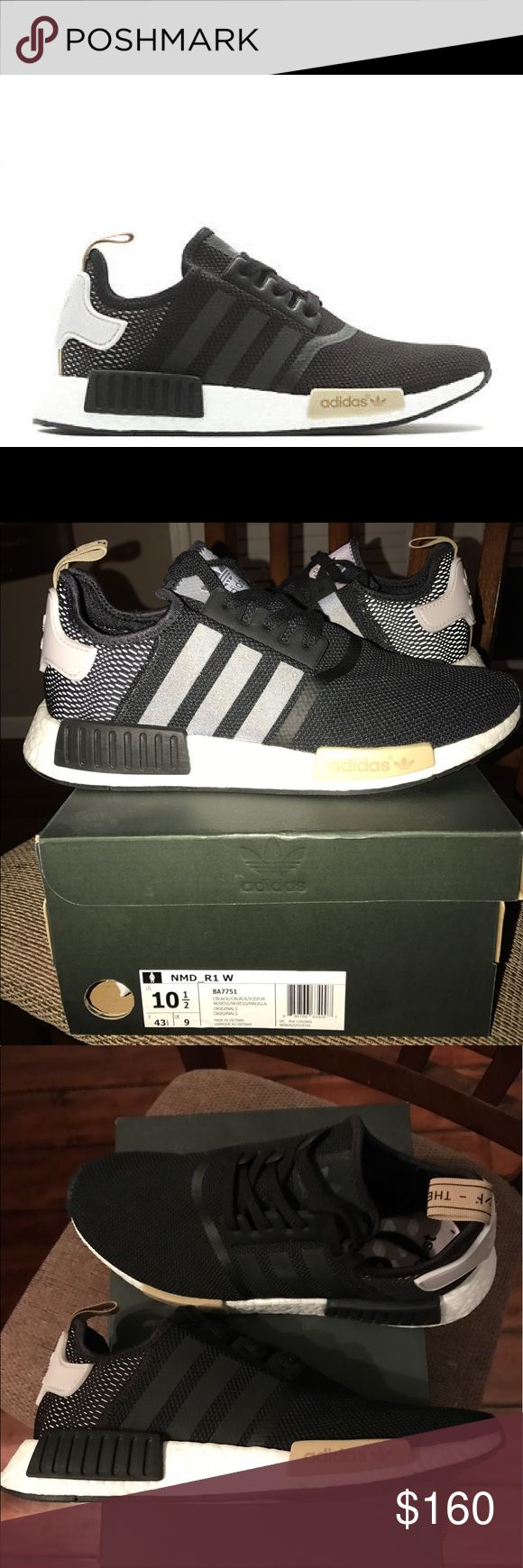 Adidas NMD_R1 Woman's Adidas NMD_R1. Flawless, perfect condition. Worn for less than an hour. Black/gold size 10.5. No trades and firm on price! adidas Shoes Sneakers