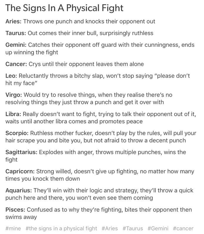 The Signs in A Physical Fight