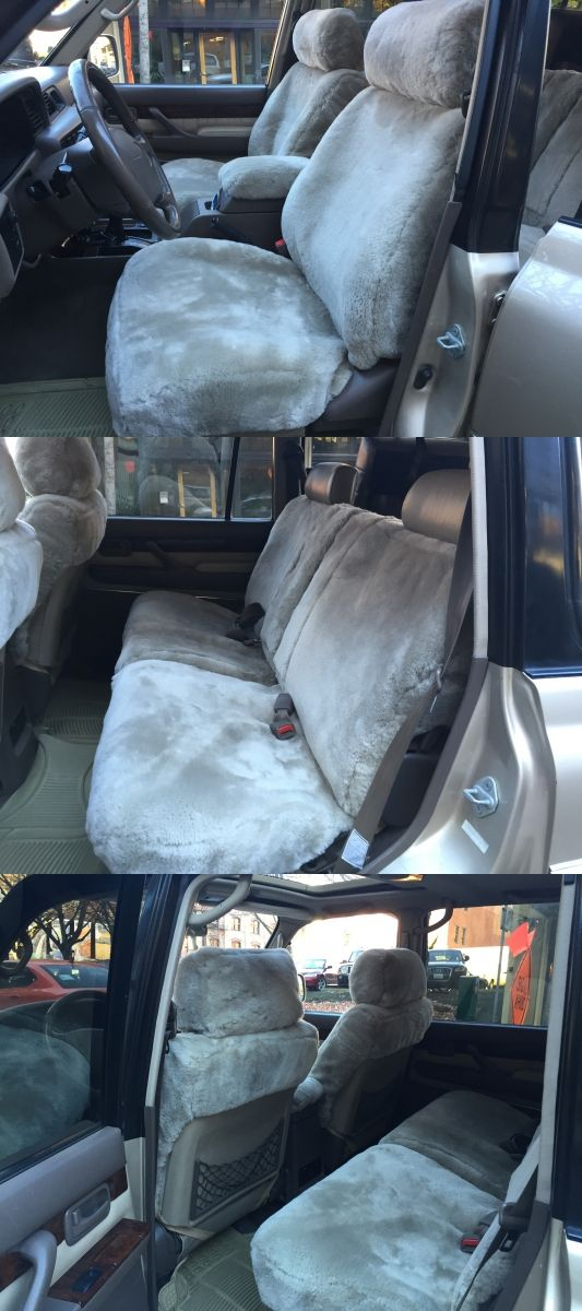 These are custom made sheepskin seat covers for a 1997 Lexus LX450. The customer went with custom seat covers for the front, back, and the headrests. The can order custom made seat covers from Sheepskin of Oregon in Portland, OR. 503-242-0079. www.sheepskinoforegon.com