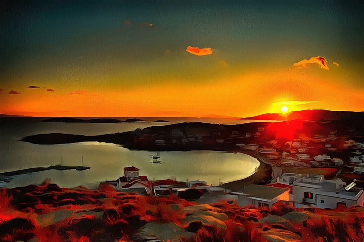 Sunset in Batsi Andros, Greece