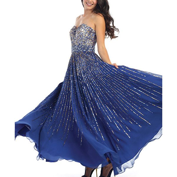 Royal Queen Royal Blue Embellished Strapless A-Line Dress ($95) ❤ liked on Polyvore featuring dresses, plus size, royal blue long dress, royal blue dress, women's plus size dresses, royal blue plus size dress and long beaded dress
