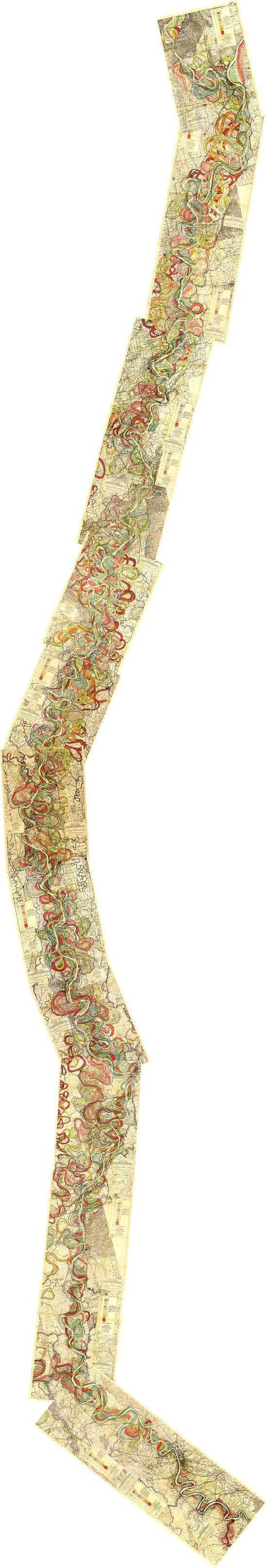 Mapa de los antiguos meandros del río Mississippi.