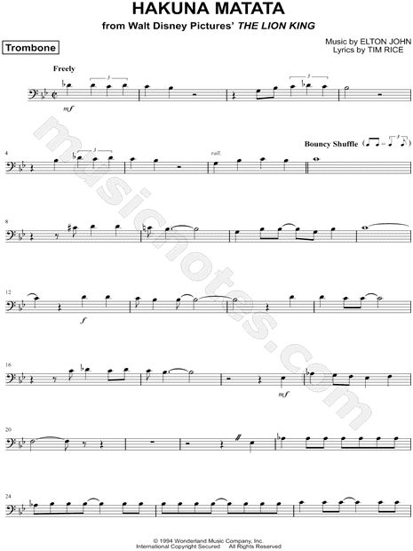 """Hakuna Matata - Trombone"" from 'The Lion King' Sheet Music (Trombone Solo) - Download & Print"