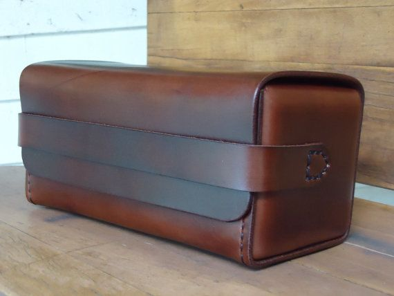 Dark Brown Leather Dopp Kit leather toiletry bag by OfMudandCoal
