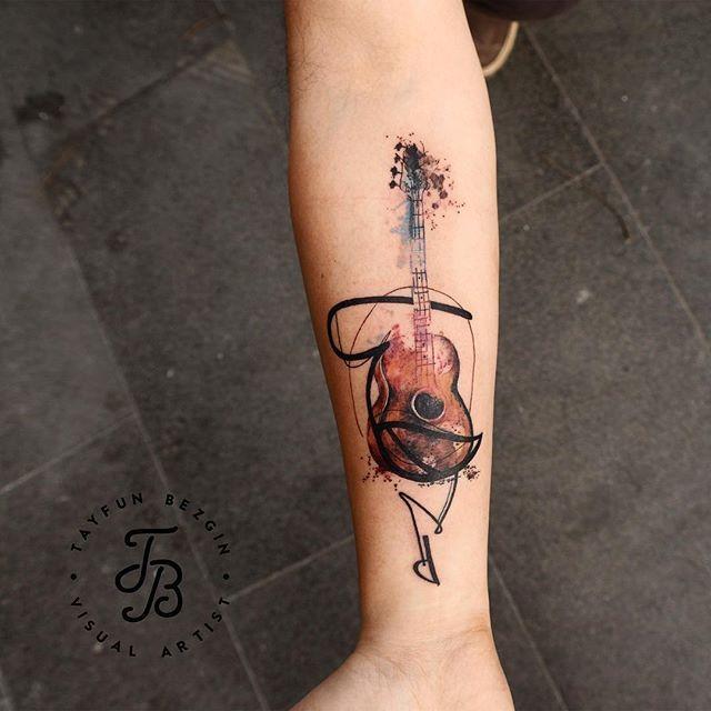 Guitar watercolor tattoo #equilattera #tattrx #Tattoocircle